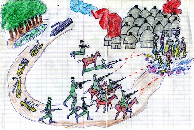 Drawing by 8 year old boy from Darfur